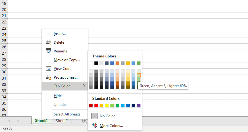 Changing the tab's color.