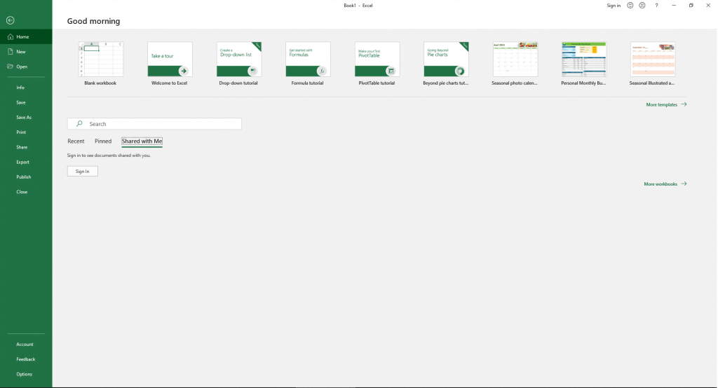 The File tab in Excel 365. May look slightly different in other Excel versions.