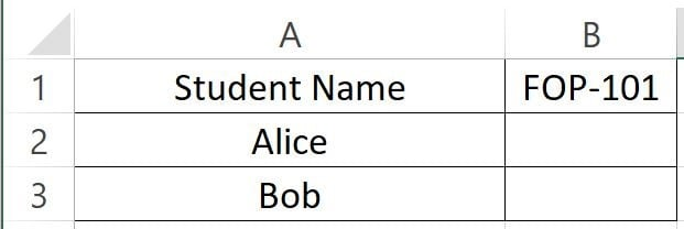 The two students Alice and Bob. We want to know their FOP-101 score.