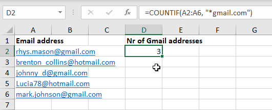 A Countif formula with an asterisk (*) wildcard to count the number of Gmail addresses in the cell range.